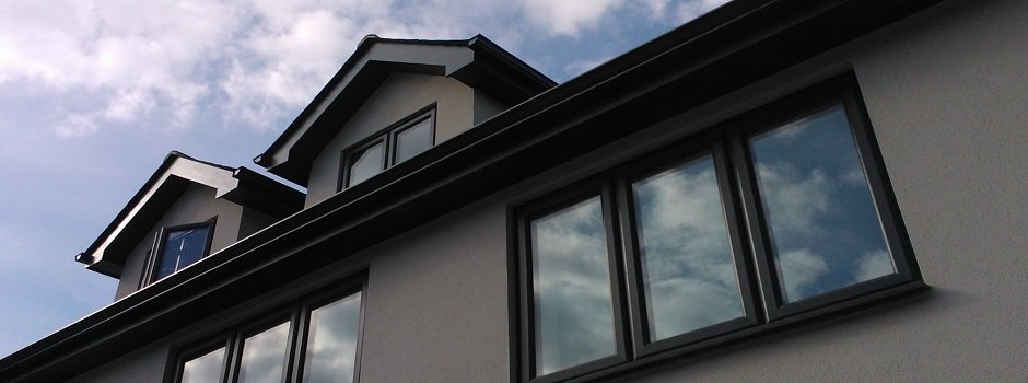 extruded aluminium gutters in anthracite